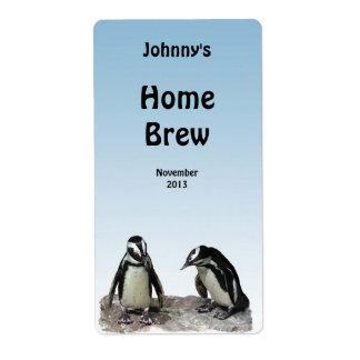 Etiqueta de la cerveza de los pingüinos etiquetas de envío