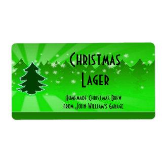 Etiqueta de la cerveza del árbol de navidad etiqueta de envío