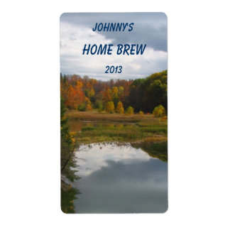 Etiqueta de la cerveza del lago autumn etiqueta de envío