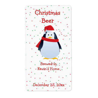 Etiqueta de la cerveza del pingüino del navidad etiquetas de envío