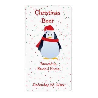 Etiqueta de la cerveza del pingüino del navidad etiqueta de envío