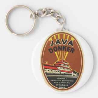 Etiqueta de la cerveza del vintage de Java Donker Llavero Redondo Tipo Pin