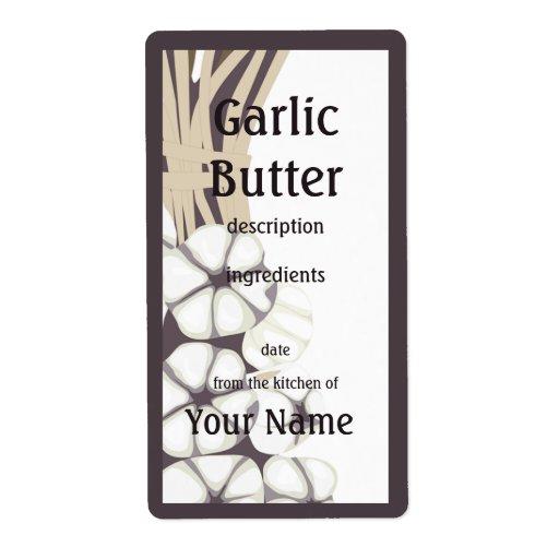 Etiqueta de la cocina de la mantequilla de ajo etiquetas de envío