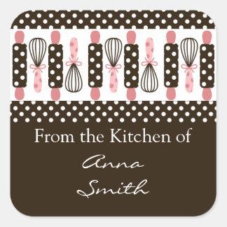 Etiqueta de la cocina de los utensilios de cocinar