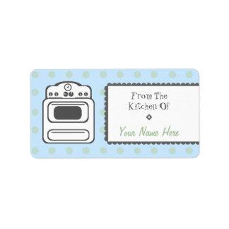 Etiqueta de la cocina - estufa retra blanca etiqueta de dirección