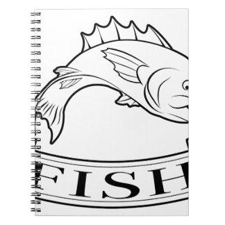 Etiqueta de la comida de pescados