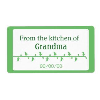 Etiqueta de la comida verde etiqueta de envío