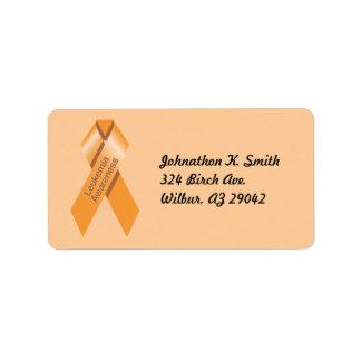 Etiqueta de la conciencia de la leucemia etiquetas de dirección