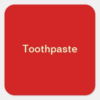Etiqueta de la crema dental