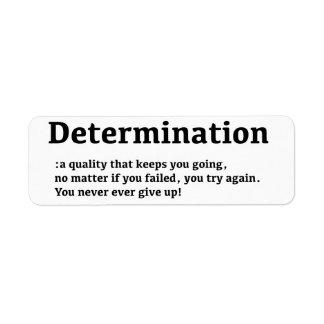 Etiqueta de la determinación etiqueta de remite