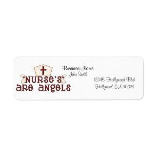 Etiqueta de la dirección comercial de la enfermera etiquetas de remite