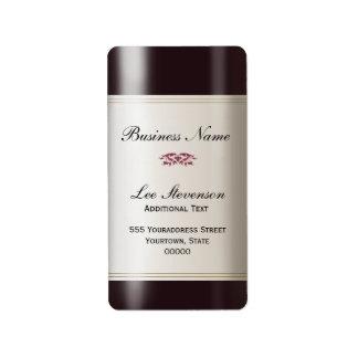 Etiqueta de la dirección comercial del vino etiqueta de dirección
