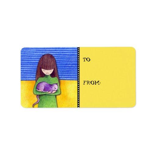 Etiqueta de la etiqueta del regalo del amarillo de etiqueta de dirección