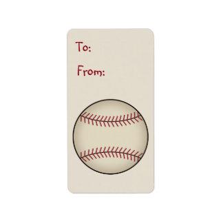 Etiqueta de la etiqueta del regalo del béisbol etiquetas de dirección