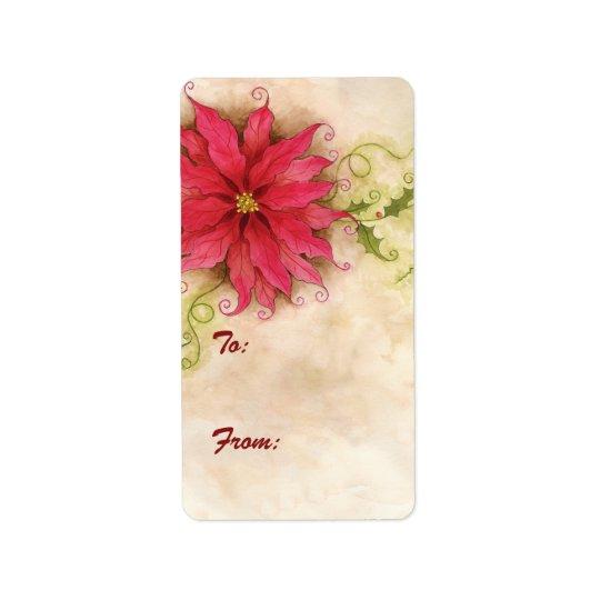 Etiqueta de la etiqueta del regalo del Poinsettia Etiquetas De Dirección