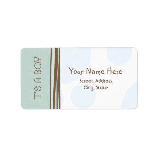Etiqueta de la fiesta de bienvenida al bebé - azul etiqueta de dirección