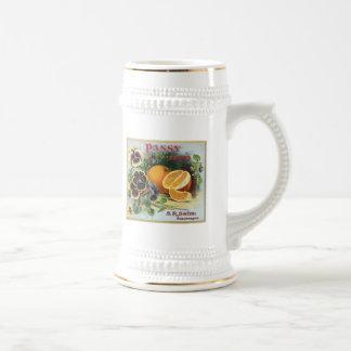 Etiqueta de la fruta de los naranjas de la marca d jarra de cerveza
