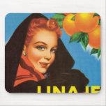 Etiqueta de la fruta del vintage de Linaje Tapete De Raton