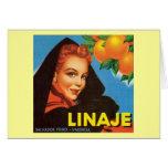 Etiqueta de la fruta del vintage de Linaje Felicitación
