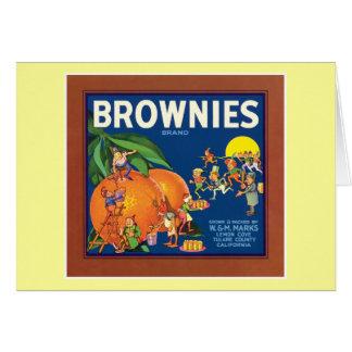 Etiqueta de la fruta del vintage de los brownie felicitación