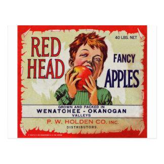 Etiqueta de la fruta del vintage - manzanas postales