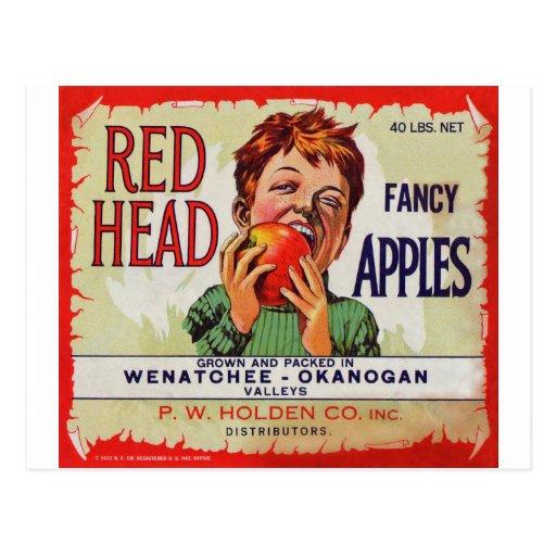 Etiqueta de la fruta del vintage - manzanas princi tarjeta postal