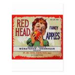 Etiqueta de la fruta del vintage - manzanas princi postal