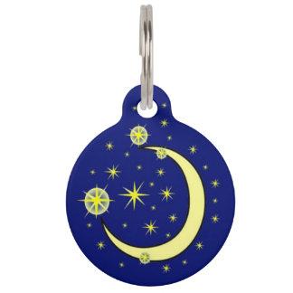Etiqueta de la identificación de la luna y del placas para mascotas