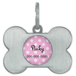 Etiqueta de la identificación del mascota del rosa placa de mascota