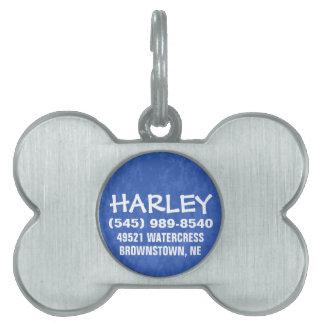 Etiqueta de la identificación del perro - azul par placas mascota