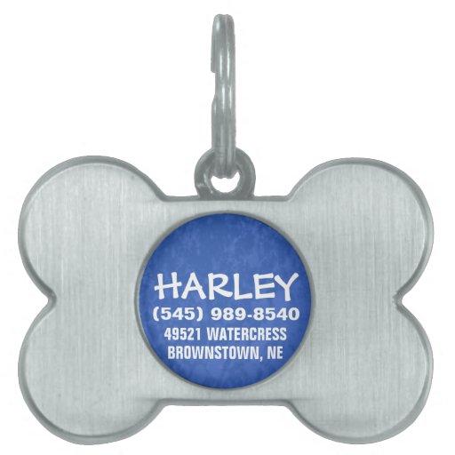 Etiqueta de la identificación del perro - azul placas de mascota