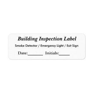 Etiqueta de la inspección del edificio etiquetas de remite