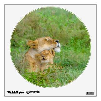 Etiqueta de la leona del amor de madre y de la vinilo