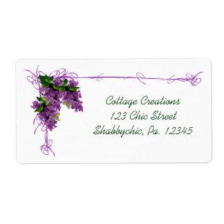 Etiqueta de la lila etiquetas de envío