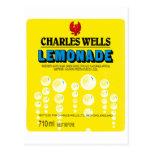 Etiqueta de la limonada de los pozos de Charles de Tarjeta Postal
