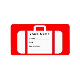 Etiqueta de la maleta de la recuperación de equipa