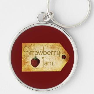 Etiqueta de la mermelada de fresa llavero redondo plateado