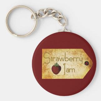 Etiqueta de la mermelada de fresa llavero redondo tipo pin
