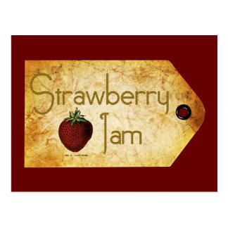 Etiqueta de la mermelada de fresa tarjetas postales