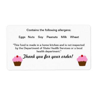 Etiqueta de la normativa alimentario de la cabaña etiquetas de envío