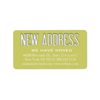 Etiqueta de la notificación del cambio de la etiquetas de dirección