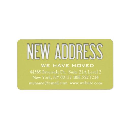 Etiqueta de la notificación del cambio de la etiqueta de dirección