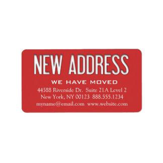 """Etiqueta de la notificación del cambio de la """"nuev etiqueta de dirección"""