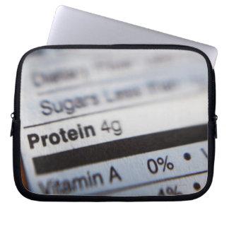 Etiqueta de la nutrición de la comida mangas computadora
