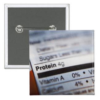 Etiqueta de la nutrición de la comida pin cuadrada 5 cm