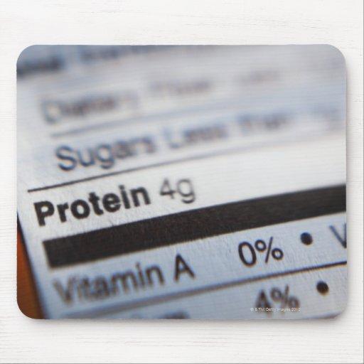 Etiqueta de la nutrición de la comida alfombrilla de ratón