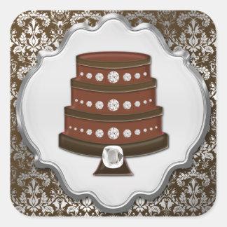 Etiqueta de la panadería del cuadrado del damasco