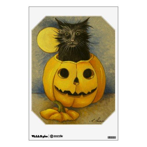 Etiqueta de la pared de Halloween del gatito de la Vinilo Decorativo