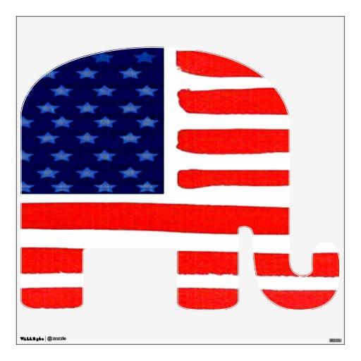 Etiqueta de la pared de la bandera americana del e