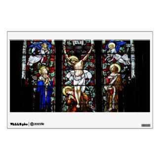Etiqueta de la pared de la crucifixión (vitral) vinilo